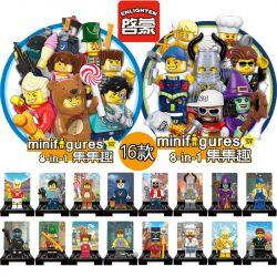 Enlighten 1502 1502A 1502B Qman 1502 1502A 1502B Xếp hình kiểu Lego COLLECTABLE MINIFIGURES Set Fun 16 People In The Second Season 16 Nhân Vật Nhỏ Trong Mùa Thứ Hai gồm 2 hộp nhỏ