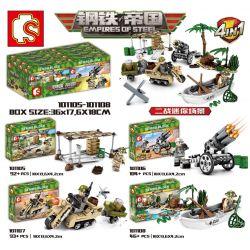SHENG YUAN SY 101105 101106 101107 101108 Xếp hình kiểu Lego EMPIRES OF STEEL Steel Empire Second World War II Mini Scene 4 4 Cảnh Nhỏ Của Thế Chiến II gồm 4 hộp nhỏ 335 khối