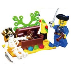 Enlighten 312 Qman 312 Xếp hình kiểu Lego PIRATES OF THE CARIBBEAN 骷 髅 岛 Cuộc Phiêu Lưu Trên Đảo đầu Lâu 27 khối