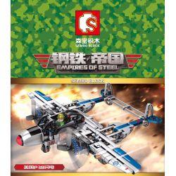 SEMBO 704300 Xếp hình kiểu Lego EMPIRES OF STEEL Steel Empire US P38 Lightning Tia Chớp P38 Của Mỹ 330 khối
