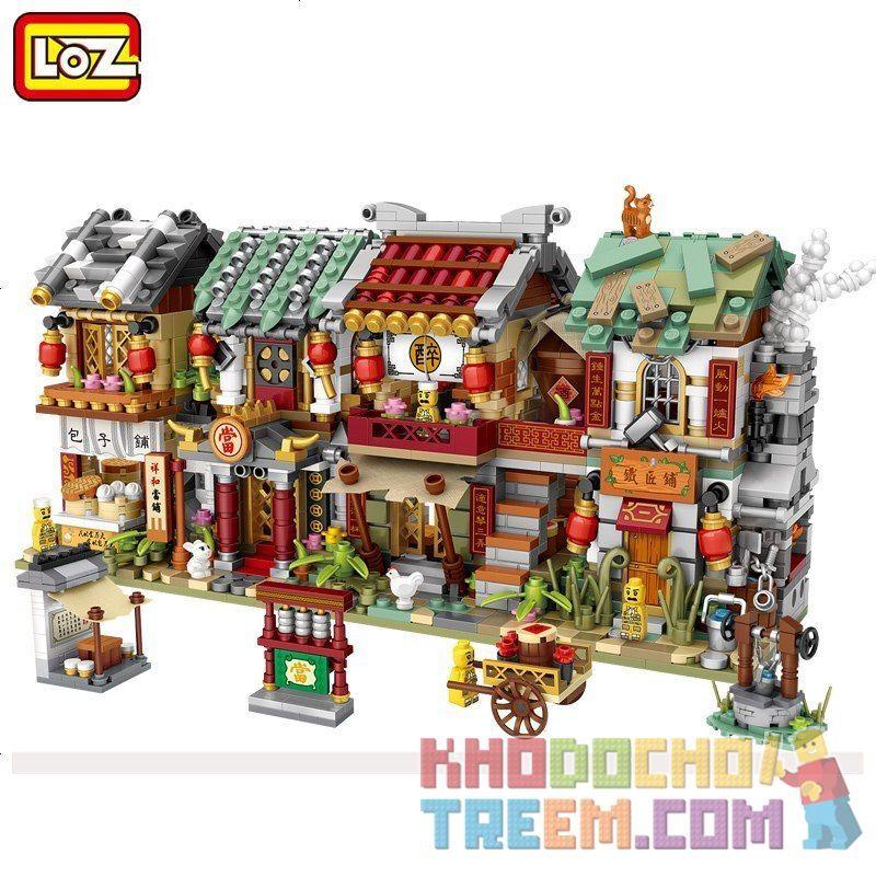 LOZ 1722 1723 1724 1725 Xếp hình kiểu Nanoblock MINI MODULAR Ancient Street 4 loại hình quán bún, tiệm cầm đồ, nhà hàng, tiệm rèn gồm 4 hộp nhỏ 2246 khối