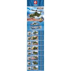 SEMBO 105101 105102 105103 105104 105105 105106 105107 105108 Xếp hình kiểu Lego IRON BLOOD HEAVY EQUIPMENT Iron Plate Wuzhi 10 Armed Helicopter Máy Bay Trực Thăng Vũ Trang Wuzhi 10 gồm 8 hộp nhỏ 496