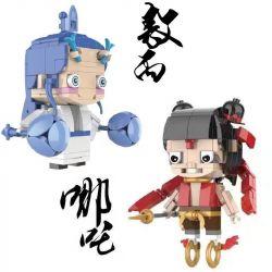 GEJIA M-0001 0001 M0001 M-0002 0002 M0002 Xếp hình kiểu Lego NEZHA Which Magic Is Coming Fangtang 2, 吒 丙 Cậu Bé đầu Vuông 2 Kiểu Nezha, Ao Bing gồm 2 hộp nhỏ