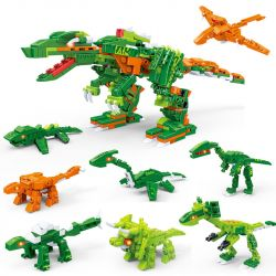GUDI 8754 Xếp hình kiểu Lego POWER RANGERS SUPER SENTAI Superfine Team Dinosaur 8 In One Khủng Long Tám Trong Một 386 khối