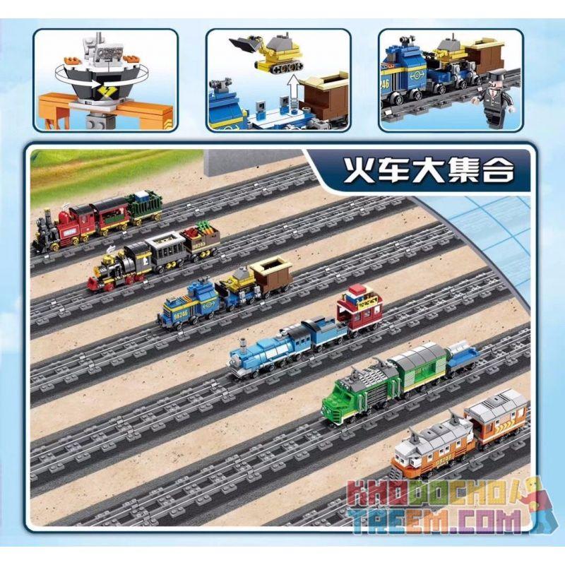 Kazi KY98246 98246 Xếp hình kiểu Lego TRAINS Blue Freight Train (small) Tàu chở hàng màu xanh (nhỏ) 215 khối