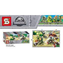 SHENG YUAN SY SY1352A 1352A SY1352B 1352B SY1352C 1352C SY1352D 1352D Xếp hình kiểu Lego JURASSIC WORLD Dinosaur Chariot 4 Types Xe khủng long 4 loại gồm 4 hộp nhỏ 603 khối