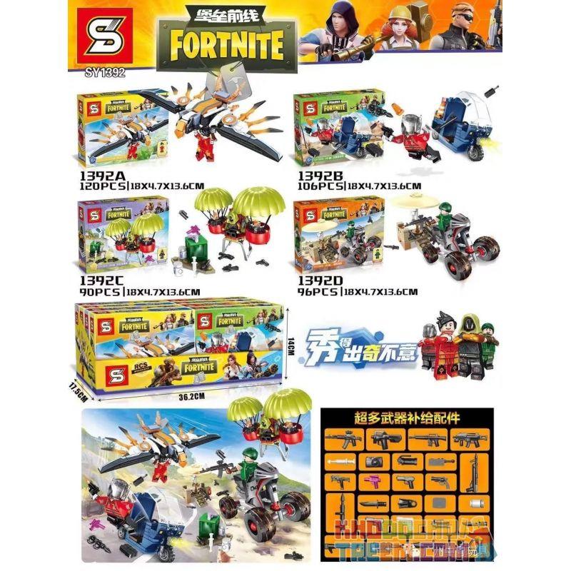 SHENG YUAN SY SY1392A 1392A SY1392B 1392B SY1392C 1392C SY1392D 1392D Xếp hình kiểu Lego FORNITE 4 Minifigure Vehicles 4 xe cấu hình nhỏ gồm 4 hộp nhỏ 412 khối