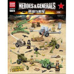 QUANGUAN 100078 Xếp hình kiểu Lego HEROES & GENERALS Heros&Generals Hero And General Soviet Artillery 6 6 Quả Pháo Của Liên Xô lắp được 8 mẫu