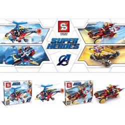 SHENG YUAN SY 7057 7057A 7057B 7057C 7057D Xếp hình kiểu Lego SUPER HEROES 4 Superhero Vehicles 4 phương tiện siêu anh hùng gồm 4 hộp nhỏ 745 khối