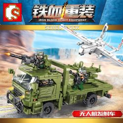 SEMBO 105621 Xếp hình kiểu Lego IRON BLOOD HEAVY EQUIPMENT Iron Plate Drone Launch Vehicle Phương Tiện Phóng UAV 442 khối