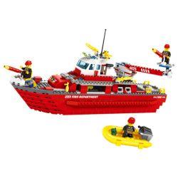 WANGE 4625 Xếp hình kiểu Lego FIRE RESCURE Fire Brigade The Fire Boat Fire Team Maritime Fire Ship Tàu Cứu Hỏa Hàng Hải 555 khối