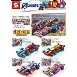 SHENG YUAN SY 1355 SY1355 1355 SY1355A 1355A SY1355B 1355B SY1355C 1355C SY1355D 1355D Xếp hình kiểu Lego SUPER HEROES Pull Back Car 4 Models Spider Formula 1, Steel Formula 1, American Team Formula 1