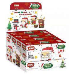 XINH 8914A 8914B 8914C 8914D Xếp hình kiểu Lego BRICKHEADZ Merry Christmas Christmas Fangtag 4 Santa, Christmas Elk, Christmas Miqi, Christmas Snowman Đầu Tiệc Giáng Sinh 4 Kiểu ông Già Noel, Nai Sừng