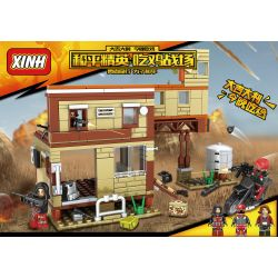 XINH 8231 Xếp hình kiểu Lego PUBG BATTLEGROUNDS Peaceful Elite Eat Chicken Battlefield Water Factory Annihilation Battle Chiến Tranh Tiêu Diệt Công Trình Nước 280 khối