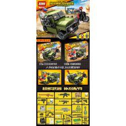 XINH 8232 Xếp hình kiểu Lego PUBG BATTLEGROUNDS Peaceful Elite Eat Chicken Battlefield Buffet Car Blocking War Xe Chống đạn 379 khối