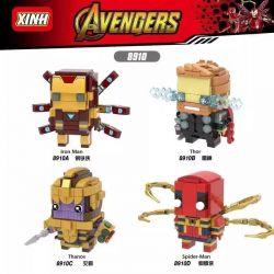 XINH 8910 Xếp hình kiểu Lego BRICKHEADZ Avengers Fangtang Iron Man, Thunder, Kernel, Spider-Man Người Sắt, Thor, Thanos, Người Nhện