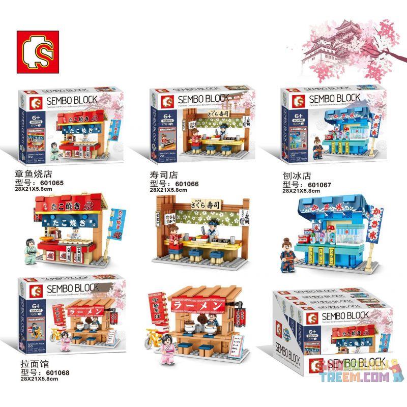 SEMBO 601065 601066 601067 601068 Xếp hình kiểu Lego CITY 4 Types Of Takoyaki Restaurant, Sushi Restaurant, Shaved Ice Restaurant, Ramen Restaurant 4 kiểu nhà hàng takoyaki, nhà hàng sushi, nhà hàng đ