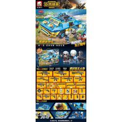 ELEPHANT JX70077 70077 Xếp hình kiểu Lego PEACE ELITE Pea Elite Eating Chicken Elite Amphibious Armored Car Xe Bọc Thép Lội Nước 445 khối