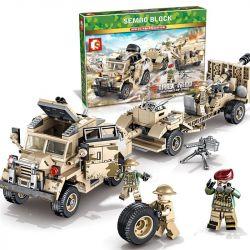 SEMBO 101361 Xếp hình kiểu Lego EMPIRES OF STEEL Steel Empire British 25 Pound Of Gauze And Tractor Pháo Và Máy Kéo 25 Pounder Của Anh 464 khối