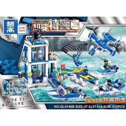ZHEGAO QL0146B 0146B Xếp hình kiểu Lego MECHANICS DEFORMATION Machine Transverse Special Police SWAT Special Police Attack Cảnh Sát đặc Biệt Tấn Công 631 khối