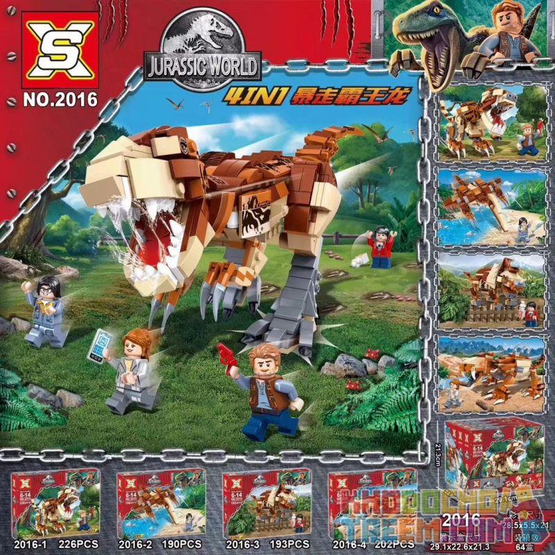 SX 2016 Xếp hình kiểu Lego JURASSIC WORLD Runaway Tyrannosaurus 4IN1 Khủng long bạo chúa chạy trốn 4IN1 lắp được 5 mẫu 811 khối