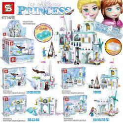 SHENG YUAN SY SY1428 1428 Xếp hình kiểu Lego FROZEN Ice And Snow Castle 4 Models Ice And Snow Eagle Castle, Bell Tower, Party Building, Rotating Windmill Lâu đài băng và tuyết 4 mô hình Lâu đài băng v