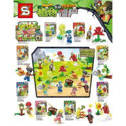 SHENG YUAN SY SY1411 1411 Xếp hình kiểu Lego PLANTS VS ZOMBIES Plants Vs. Zombies Hundreds Of People, 8 Dishes, Red Needle, Carrot, Larcoar, Sun Flower, Coconut, Corn Pitcher 8 Nhân Vật Nhỏ, Rau Câu,