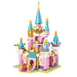 Enlighten 2613 Qman 2613 Xếp hình kiểu Lego PRINECESS LEAH Princess Leah Princess Lay Huahai Castle 4 Combination Bai Yuemen, Heart Pavilion, Green Garden, Picking Tower Flower Sea Castle 4 Tổ Hợp Bai