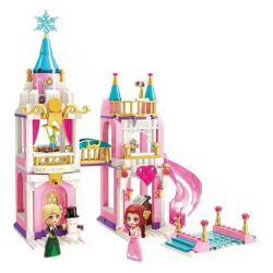 Enlighten 2615 Qman 2615 Xếp hình kiểu Lego PRINECESS LEAH Princess Leah Princess Lay Snowflake View Tháp Snow View 405 khối