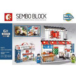SEMBO 601070 Xếp hình kiểu Lego Japanese Street View Crab Water Sushi Store Nhà Hàng Sushi Crab Inari 341 khối