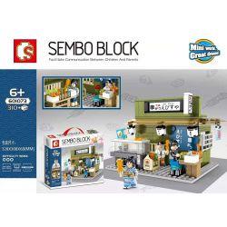 SEMBO 601073 Xếp hình kiểu Lego Japanese Street View Skewer Shop Quán Xiên Que 310 khối