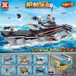 SX 7018 Xếp hình kiểu Lego GUNSHOT Bullet Aircraft Carrier 6 Combinations Tổ Hợp Tàu Sân Bay 6