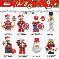 XINH 1405 1406 1407 1408 1409 1410 1411 1412 X0275 0275 Xếp hình kiểu Lego SUPER HEROES Hundreds Of People 8 Superhero Santa Claus Siêu Anh Hùng Santa Minifigure gồm 8 hộp nhỏ