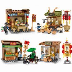 SEMBO 601600 601601 601602 601603 Xếp hình kiểu Lego CHINATOWN Old Beijing Street View 4 Beijing Roast Duck, Penglai, Cake, Rushed, Sheep Scorpion 4 Loại Vịt Quay Bắc Kinh, Quán Rượu Penglai, Làng Bán
