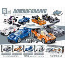 ZHEGAO QL0714 0714 QL0715 0715 QL0716 0716 QL0717 0717 Xếp hình kiểu Lego ARMOUR RACING Two-change Race 4 4 Mô Hình gồm 4 hộp nhỏ 619 khối