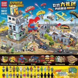 QUANGUAN 100127 Xếp hình kiểu Lego PUBG BATTLEGROUNDS Eating Chicken Battlefield Eat Chicken Gift Bag Courage Tập Hợp Những Anh Hùng ăn Thịt Gà 2268 khối