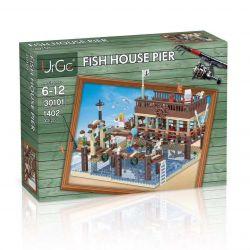 URGE 30101 Xếp hình kiểu Lego TOWN Fish House Pier Old Fisherman Fishing House Pier Bến Nhà Cá 1402 khối