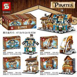 SHENG YUAN SY SY6803A 6803A SY6803B 6803B SY6803C 6803C SY6803D 6803D Xếp hình kiểu Lego PIRATES OF THE CARIBBEAN Caribbean Pirate Small Street View 4 Bars, Seafood Stores, Barbecue, Blacksmith Shop C