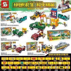 SHENG YUAN SY SY1360-A 1360-A SY1360-B 1360-B SY1360-C 1360-C SY1360-D 1360-D Xếp hình kiểu Lego GAME FOR PEACE Jedi Survival Peace Elite Car Vehicle 4 Bus, Truck, Sports Car, Beach Car Xe 4 Loại Xe B