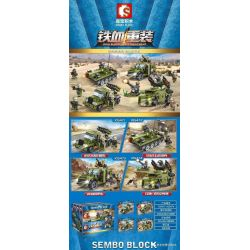 SEMBO 105471 105472 105473 105474 Xếp hình kiểu Lego IRON BLOOD HEAVY EQUIPMENT Iron Plate Military Vehicle 4 81 Rocket Scanning Car, 59-style Main Tank, VN9 Armored Car, Red Flag-7 Air Defense Missil