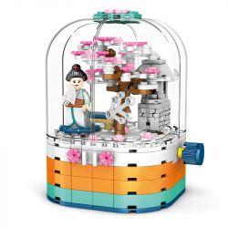 SEMBO 601077 Xếp hình kiểu Lego CHERRY BLOSSOM SEASON Sakura Season Transparent Light Rotating Box Hộp Xoay đèn Trong Suốt 259 khối