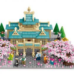 SEMBO 601079 Xếp hình kiểu Lego CHERRY BLOSSOM SEASON Sakura Season Wu Da Cherry Blossom Đại Học Vũ Hán Sakura 2529 khối