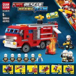 QUANGUAN 100044 Xếp hình kiểu Lego FIRE RESCURE FireRescue Team Fire Rescue Team Fire Truck, Crimson Star Yao 6 Combination Fire Off-road Vehicles, Forest Fire Machines, Fire Kiosities, Water Gun Fire