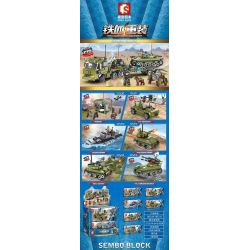 SEMBO 105210 105211 105212 105213 105214 105215 Xếp hình kiểu Lego IRON BLOOD HEAVY EQUIPMENT Iron Plate Tank Transport Tractor 6 Combination Command Base, SX-1 Paratrooper Assault Car, 051C Air Defen