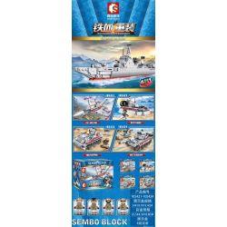SEMBO 105421 105422 105423 105424 Xếp hình kiểu Lego IRON BLOOD HEAVY EQUIPMENT Iron Plate 052 Missile Ship 4 Combination FC-1 Fighter, Wild Cattle Pad, 90 Armored Car, 85-main Battle Tank Tàu Tên Lửa