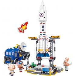 ZHEGAO QL1643 1643 Xếp hình kiểu Lego IDEAS Tan Tan Meow Detect Aerospace Launch Base Bệ Phóng Vũ Trụ 664 khối