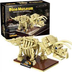 LINOOS LN7001 7001 Xếp hình kiểu Lego DINO MUSEUM Dino Museum Triceratops Dinosaur Museum Triangle Dragon Skeleton Bộ Xương Triceratops 173 khối