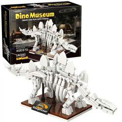 LINOOS LN7002 7002 Xếp hình kiểu Lego DINO MUSEUM Dino Museum Stegosaur Dinosaur Museum Jianlong Skeleton Bộ Xương Stegosaurus 199 khối