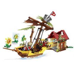 SHENG YUAN SY SY1413 1413 Xếp hình kiểu Lego PLANTS VS ZOMBIES Plants Vs.Zombies Plant Vs Zombie Pirate Harbor Plants Vs. Zombies Pirate Harbour 408 khối