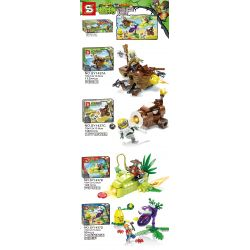 SHENG YUAN SY SY1437 1437 Xếp hình kiểu Lego PLANTS VS ZOMBIES Plants Vs.Zombies Plants Vs. Zombies 4 Pirate Boats, Coconut Plus Cannons, Asparagus Fighters, Big Mouth Flowers And Corn Pitcher 4 Loại